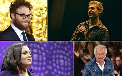 Clockwise from top left: Seth Rogen, Matisyahu, Ralph Lauren and Sheryl Sandberg all went to Jewish camp (Courtesy JTA)