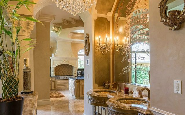 The ritual washing station off the dining room at 3600 Estate Oak Circle. (Courtesy of Lifestyle Production)