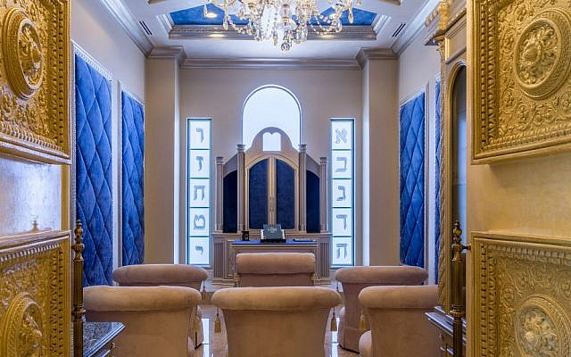 The synagogue in the house at 3600 Estate Oak Circle in Fort Lauderdale, Florida. The house is on the market for $7.5 million. (Courtesy of Lifestyle Production)