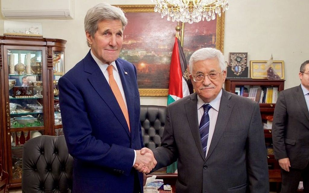 US Secretary of State John Kerry shakes hands with Palestinian Authority President Mahmoud Abbas on February 21, 2016 in Amman, Jordan. (US State Department)