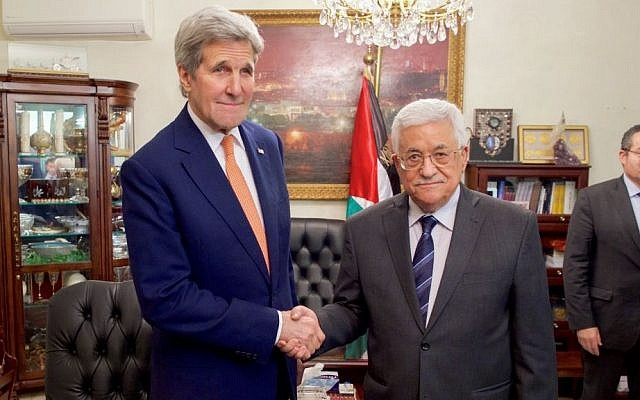 US Secretary of State John Kerry (left) shakes hands with Palestinian Authority President Mahmoud Abbas on February 21, 2016 in Amman, Jordan. (US State Department)