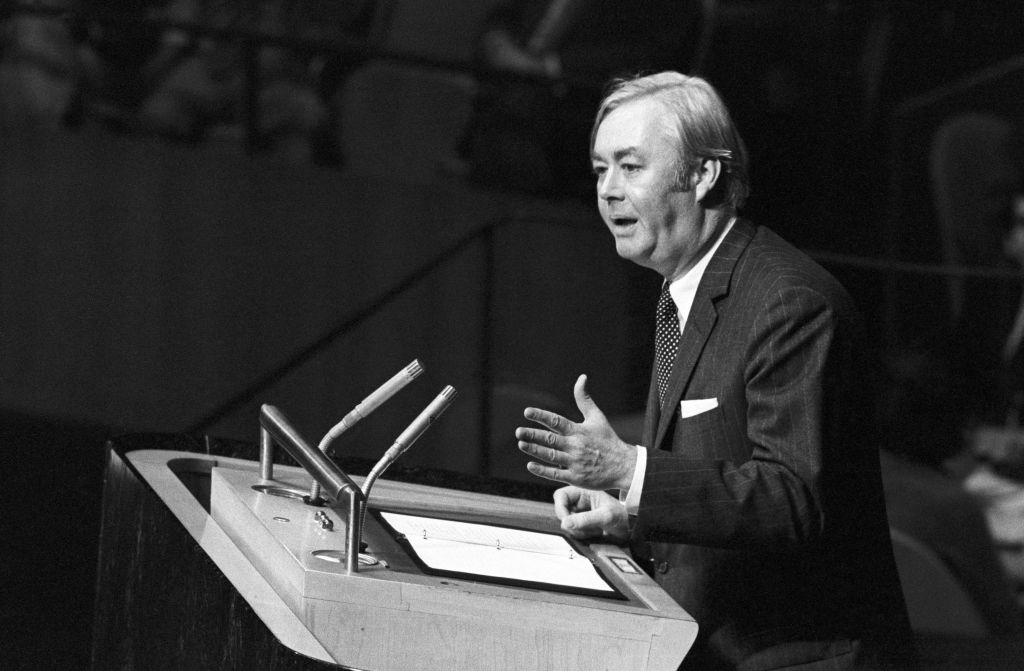 United States ambassador Daniel P. Moynihan addressing the United Nations Assembly on November 10, 1975 at the United Nations, New York. (UN Photo/Teddy Chen)