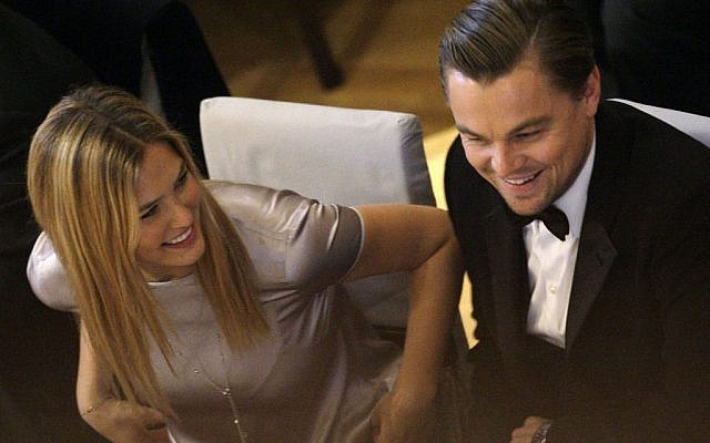 Israeli model Bar Refaeli and US actor Leonardo DiCaprio at the ceremony for the 'Cinema for Peace Gala 2010' during the International Film Festival Berlinale in Berlin, Germany, February 15, 2010. (AP Photo/Joel Ryan)