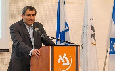 Immigrant Absorption Minister Zeev Elkin at Bar-Ilan University, February 29, 2016. (Itai Sharmer)