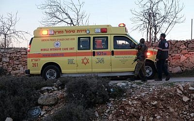 Ambulances at the scene of a suspected stabbing attack in the Neve Daniel settlement in the West Bank on February 9, 2016. (Magen David Adom)