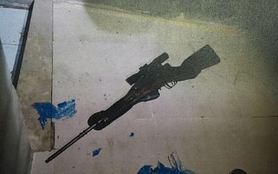 A sniper rifle believed to have been used by two Palestinian brothers in a number of shooting attacks against Israeli civilians and soldiers in the West Bank city of Hebron. (Courtesy/Shin Bet)