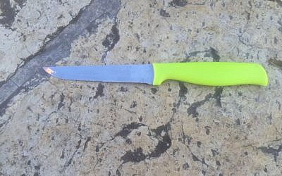 A knife used by an assailant near the Damascus Gate of Jerusalem's Old City on February 9, 2016, according to police. (Israel Police)
