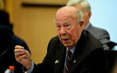 George Shultz at the Knesset in Jerusalem, February 2016 (Yosi Zeliger, IDI)