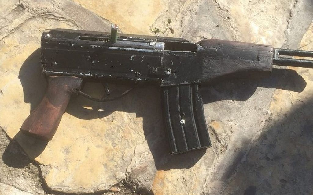 One of the 'Carl Gustav' automatic rifles used in the attack at the Damascus Gate outside of Jerusalem's Old City on February 3, 2016. (Israel Police)