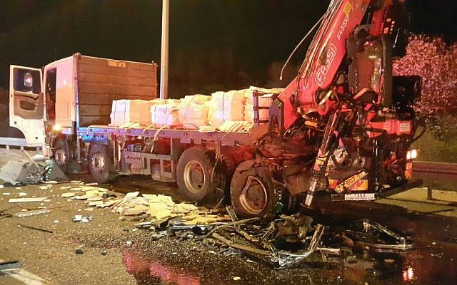 The truck that collided with a bus on the Route 1 highway near the Anava intersection on February 14, 2016. (United Hatzalah)