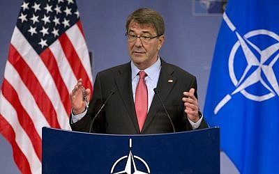 US Secretary of Defense Ash Carter speaks during a media conference at NATO headquarters in Brussels on Thursday, February 11, 2016. (AP/Virginia Mayo)