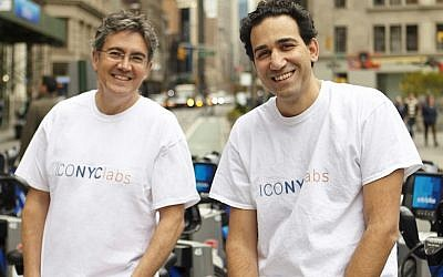 Arie Abecassis (left), and Eyal Bino (right), cofounders of ICONYC Labs, an accelerator program that helps launch Israeli startups in New York. (Courtesy of ICONYC Labs)
