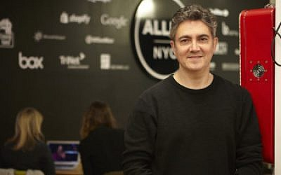 Arie Abecassis at co-working space AlleyNYC, which is home to ICONYC Labs. (Courtesy of ICONYC Labs)