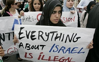 File. Muslim students at an anti-Israel protest at the University of California, Irvine, in 2006. (Mark Boster/Los Angeles Times via Getty Images/JTA)