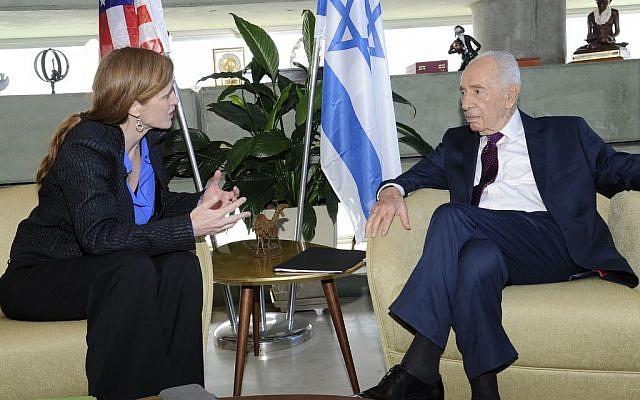 US ambassador to the UN Samantha Power (L) meets with former Israeli president Shimon Peres (R) on February 16, 2016. (David Azagury)