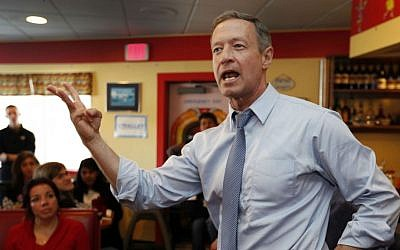 In this Jan. 22, 2016, file photo, Democratic presidential candidate former Maryland Gov. Martin O'Malley speaks during a campaign stop at the Tilton Diner in Tilton, New Hampshire. (AP Photo/Jim Cole, File)