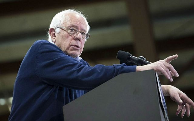 Democratic presidential candidate Sen. Bernie Sanders, I-Vermont, speaks during a campaign stop at the Franklin Pierce University Fieldhouse, Friday, Feb. 5, 2016, in Rindge, New Hampshire. (AP Photo/John Minchillo)