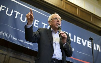 Democratic presidential candidate Sen. Bernie Sanders, I-Vt., speaks during a meeting with volunteers at Iowa State University, on Sunday, January 31, 2016, in Ames, Iowa (AP Photo/Evan Vucci)