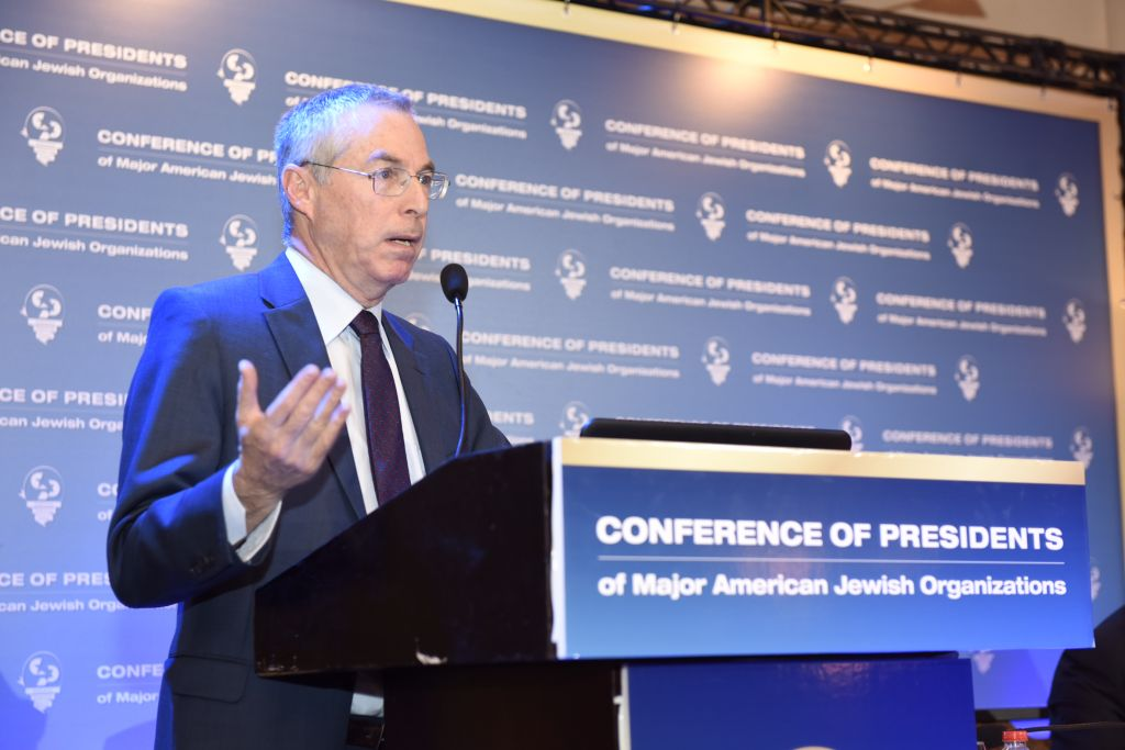 Brig. Gen. (res.) Michael Herzog, Senior Fellow, The Jewish People Policy Planning Institute at the Conference of Presidents meet-up in Jerusalem, February 15, 2016 (Tamir Hayoun)