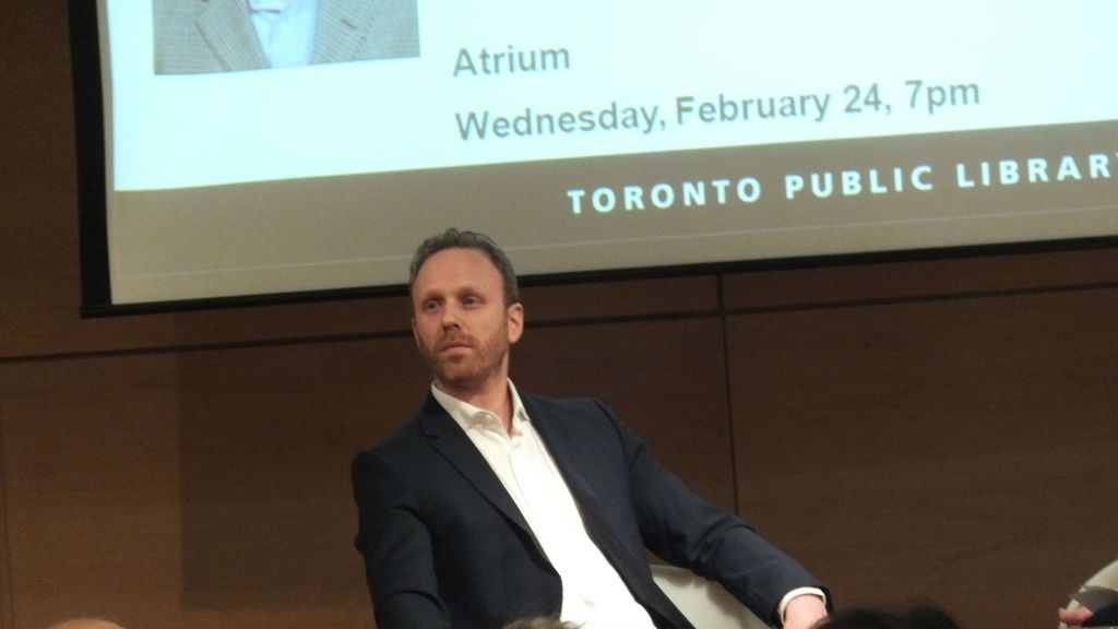Author Max Blumenthal at a controversial Toronto event on February 24, 2014. 'Max Blumenthal represents the radical left's extremist belief that Israel is the embodiment of all evil and has no right to exist,' said Avi Benlolo, president and CEO of Canada's Friends of Simon Wiesenthal Center for Holocaust Studies. (Sammy Hudes/The Times of Israel)