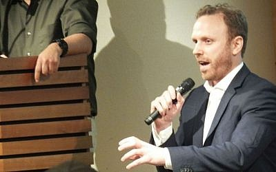 Author Max Blumenthal at a controversial Toronto event organized by PEN Canada — a charity which advocates for free expression and other basic rights for writers, on February 24, 2014. (Sammy Hudes/The Times of Israel)