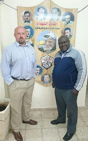 Dr. Frans Cronje and Professor Rabelani Dagada, members of a visiting South African group, in Ramallah, February 2016. (courtesy: Dr. Frans Cronje)