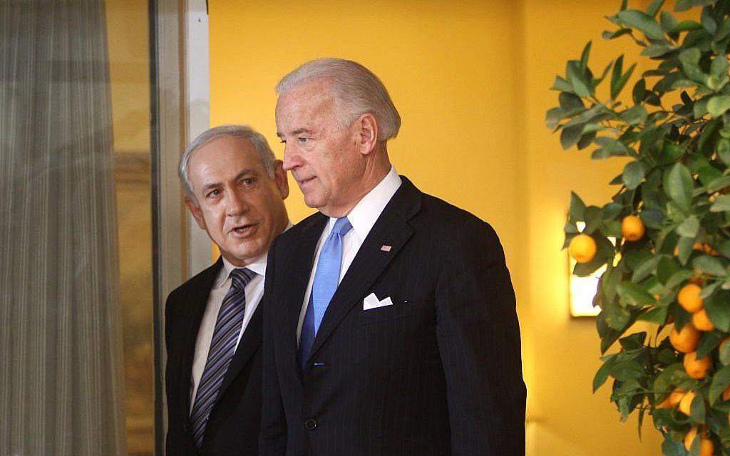 Prime Minister Benjamin Netanyahu, left, and then-US vice president Joe Biden, in Jerusalem on March 9, 2010. (Emil Salman/Pool/Flash90)