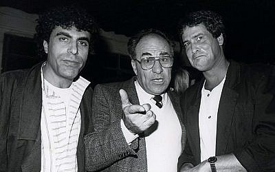 Gaby Shoshan (L) with comic Dudu Topaz (R) and actor Albert Cohen, in this undated photograph.(Moshe Shai/Flash90)