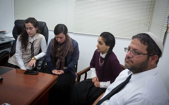 Lawyer Itamar Ben Gvir seen at a press conference with women studying at a women's seminary led by Rabbi Aharon Ramati in Jerusalem. (Miriam Alster/Flash90)