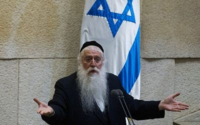 Deputy Education Minister Meir Porush of the United Torah Judaism party addresses the Knesset on June 17, 2015 (Miriam Alster/FLASH90)