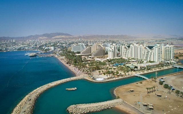 Aerial view of Eilat on October 21, 2015. (Moshe Shai/FLASH90)