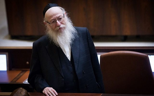 Minister of Health Yaakov Litzman during a Knesset plenary session, January 11, 2016. (Photo by Miriam Alster/FLASH90)