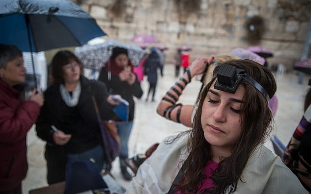 Women of the Wall pray at the Western Wall on February 7, 2016 (Hadas Parush/Flash90)