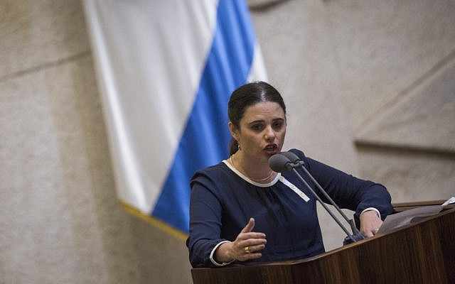 Justice Minister Ayelet Shaked speaks during a plenum session in the assembly hall of the Israeli parliament, before the Knesset votes on the proposed law requiring Left-wing foundations and organizations to reveal their sources of funding, on February 8, 2016. (Hadas Parush/Flash90)