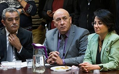 Joint (Arab) List members Jamal Zahalka (left), Basel Ghattas (center) and Hanin Zoabi (right) at the weekly Joint (Arab) List meeting at the Knesset, on February 8, 2016. (Yonatan Sindel/Flash90)