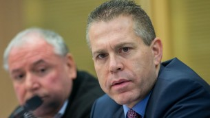 Minister of Public Security Gilad Erdan attends a meeting of the Knesset Internal Affairs committee, February 9, 2016. (Yonatan Sindel/Flash90)