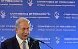 Prime Minister Benjamin Netanyahu speaks to the Conference of Presidents of Major American Jewish Organizations, Jerusalem, February 14, 2016. (Kobi Gideon/GP0)