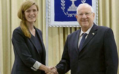 President Reuven Rivlin meets with United States Ambassador to the United Nations Samantha Power at the president's residence in Jerusalem on February 15, 2016. (Kobi Gideon / GPO)