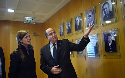 Defense Minister Moshe Yaalon met with US Ambassador at the UN, Samantha Power, during her visit to Israel, at the Defense Ministry in Tel Aviv, on February 16, 2016. (Diana Hananshvili/MOD)