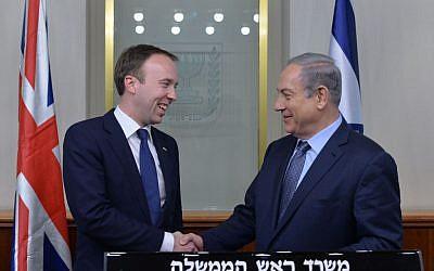 Prime Minister Benjamin Netanyahu meets with British Cabinet Minister, Matthew Hancock, in Jerusalem on February 17, 2016. (Kobi Gideon / GPO)