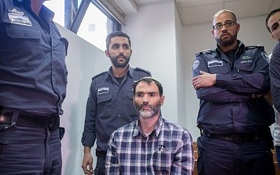 Haim Btiton, the driver in a fatal bus crash on February 14, seen at the court in Jerusalem on February 17, 2016. (Yonatan Sindel/Flash90)