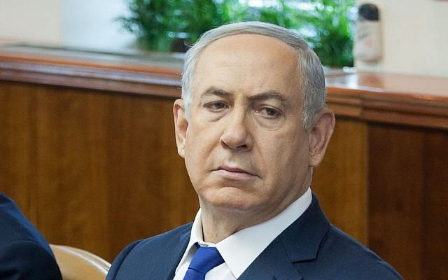 Prime Minister Benjamin Netanyahu leads the weekly cabinet meeting in Jerusalem, February 21, 2016. (Emil Salman/Pool)