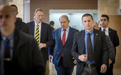 Prime Minister Benjamin Netanyahu arrives at the Knesset on February 22, 2016. (Miriam Alster/Flash90)
