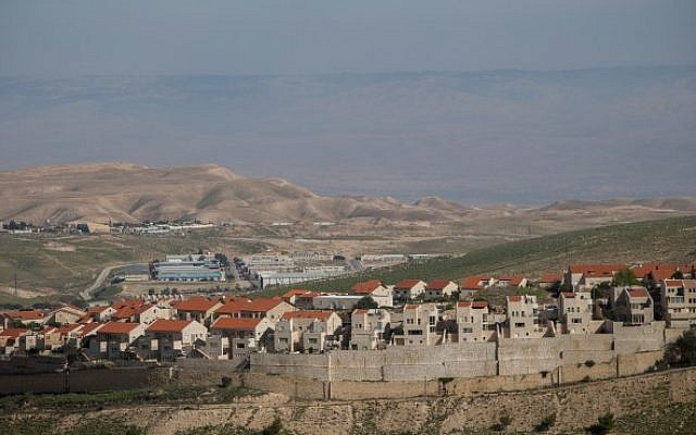 View of the Israeli settlement of Ma'ale Adumim, in the West Bank, February 25, 2016 (Yonatan Sindel/Flash90)