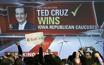 Supporters cheer as caucus returns are reported at Republican presidential candidate Sen. Ted Cruz's caucus night rally, Monday, Feb. 1, 2016, in Des Moines, Iowa. (AP Photo/Chris Carlson)