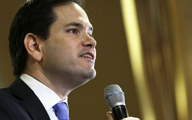 Republican presidential candidate, Senator Marco Rubio speaks at a rally Wednesday in Houston, February 24, 2016. (AP Photo/Pat Sullivan)