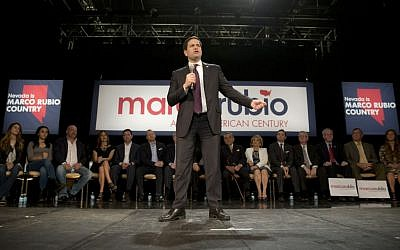 Republican presidential candidate, Sen. Marco Rubio, R-Fla., speaks at a rally Sunday, Feb. 21, 2016, in North Las Vegas, Nev. (AP Photo/Jae C. Hong)