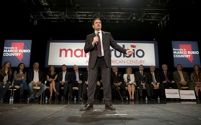 Republican presidential candidate, Sen. Marco Rubio, R-Fla., speaks at a rally Sunday, Feb. 21, 2016, in North Las Vegas, Nev. (AP Photo/Jae C. Hong)