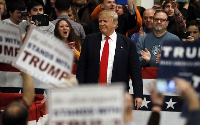 Republican presidential candidate Donald Trump makes his way to the stage during a campaign stop in North Charleston, South Carolina, on February 19, 2016. (AP/Matt Rourke)