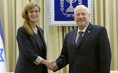Samantha Power, left, and Reuven Rivlin in Jerusalem on February 15, 2016. Mark Neyman / GPO)